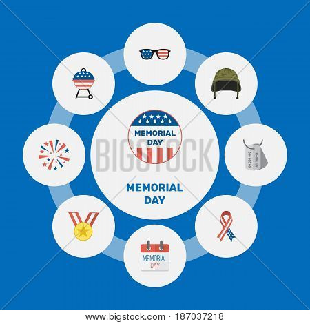 Flat Usa Badge, Firecracker, Medallion And Other Vector Elements. Set Of Day Flat Symbols Also Includes Sparklers, Firecracker, Firework Objects.