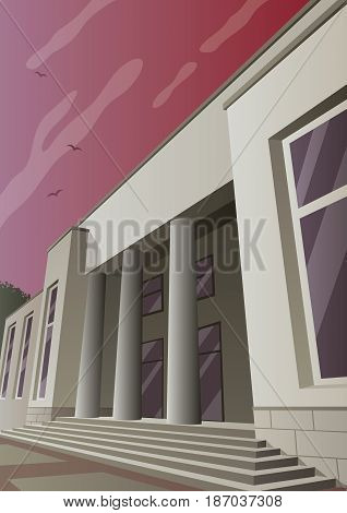 Cartoon museum or gallery building in Art Deco style.