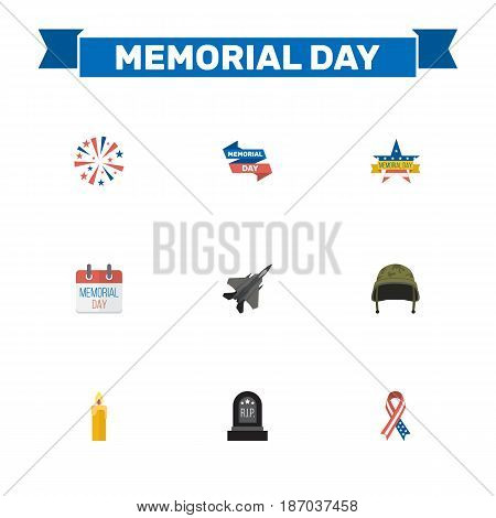 Flat Soldier Helmet, Fire Wax, Awareness And Other Vector Elements. Set Of Day Flat Symbols Also Includes Calendar, Plane, Memorial Objects.