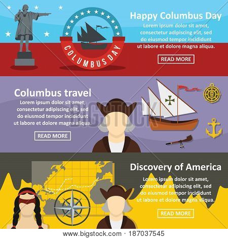 Columbus Day banner horizontal concept set. Flat illustration of 3 columbus Day vector banner horizontal concepts for web