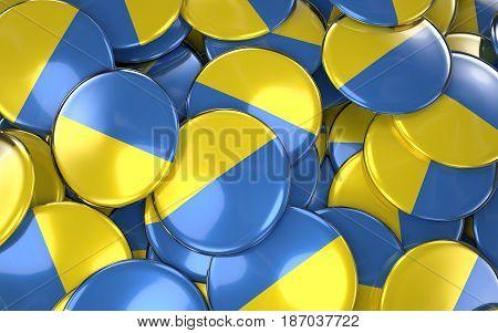 Ukraine Badges Background - Pile Of Ukrainian Flag Buttons.