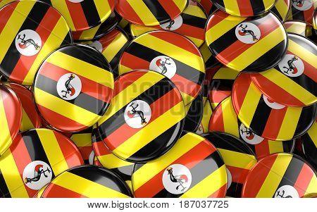 Uganda Badges Background - Pile Of Ugandan Flag Buttons.