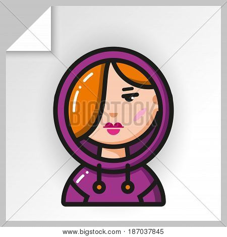 Cartoon female avatars- face icons. Vector Isolated flat colorful illustration. Redhead girl teenager in hoodie sweatshirt.