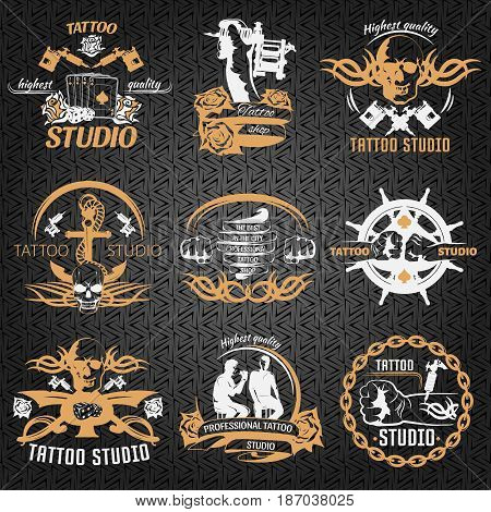 Tattoo vintage style labels with fist master anchor skull rudder on black textural background isolated vector illustration