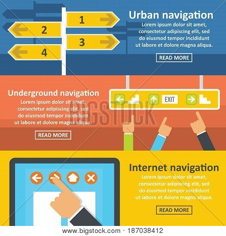Urban navigation banner horizontal concept set. Flat illustration of 3 urban navigation vector banner horizontal concepts for web