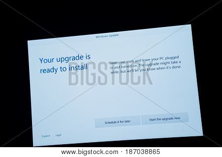 PARIS FRANCE - JAN 7 2016: Your upgrade is ready to install - message on computer screen during the upgrade process to Windows 10