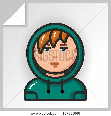Cartoon male avatars- face icons. Vector Isolated flat colorful illustration. Guy is a teenager in a hoodie.