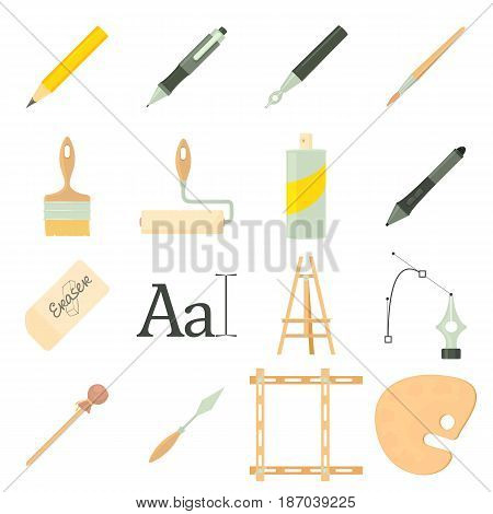 Drawing tools icons set. Cartoon illustration of 16 drawing tools vector icons for web