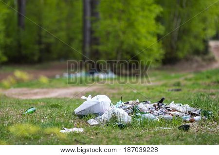 A lot of garbage at the tourist destination