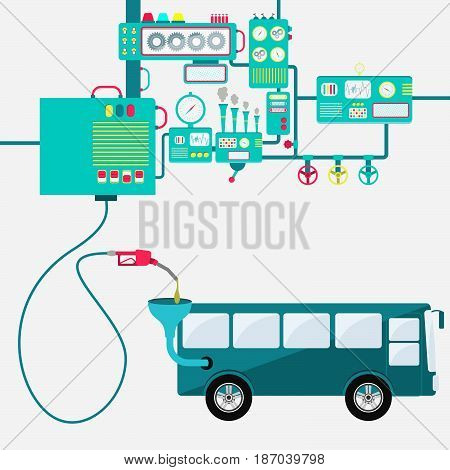Machinery of factory refining gasoline and refueling a bus. Bus being fueled by a gas pump.