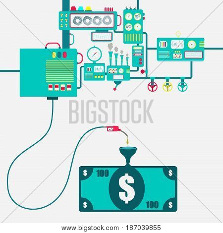 Machinery of factory refining gasoline and refueling a banknote. Money being fueled by a gas pump.