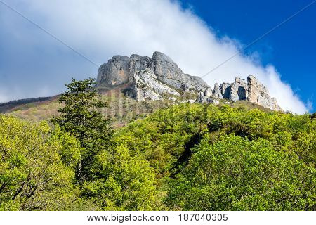 French countryside. Steep mountain peak on the heights of Vercors, France.