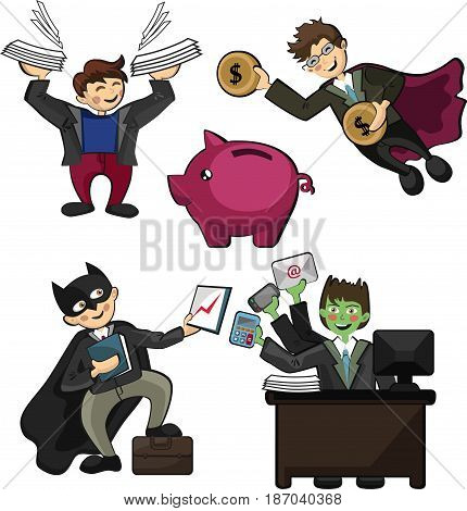 office workers in the form of superheroes with superpowers workers universal workers capable of doing several things at once