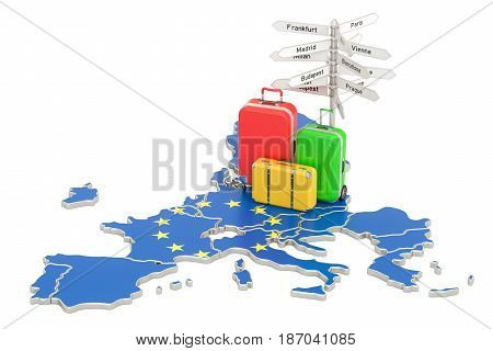 EU travel concept. European Union flag on map with suitcases and signpost 3D rendering