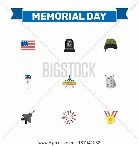Flat American Banner, Soldier Helmet, Firecracker And Other Vector Elements. Set Of Memorial Flat Symbols Also Includes Helmet, Tag, Soldier Objects.