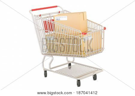 Shopping cart with parcels order and delivery concept. 3D rendering isolated on white background