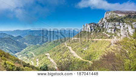 French countryside. Col de Rousset: Panoramic view of the heights of the Vercors, the marly hills and the valley Val de Drome.