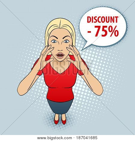 Cartoon Illustration of a Young Woman in Red Blouse Screams Discount.