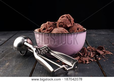 Chocolate Coffee Ice Cream Ball In A Bowl
