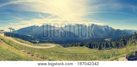 Panoramic view of Brenta group. Mountain massif above Madonna di Campiglio.