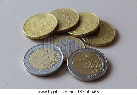Coins of one and two euros and fifty cents