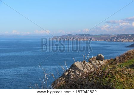 Coast and sea in Douarnenez Bay in Brittany