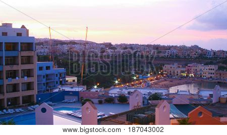 Sunset Of  Paceville, Saint Julians Bay In Malta
