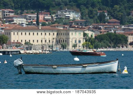 Lake Garda Italy - June 7 2014: boats in a bay og Lake Garda
