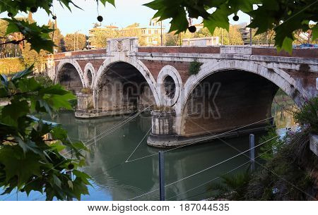 The bridge Mateotti Rome Italy.The works for this bridge designed by architect Antonelli started in 1924. On April 21 1929 anniversary of the foundation of Rome it was officially inaugurated.
