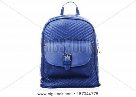 Blue leather backpack on white background isolation