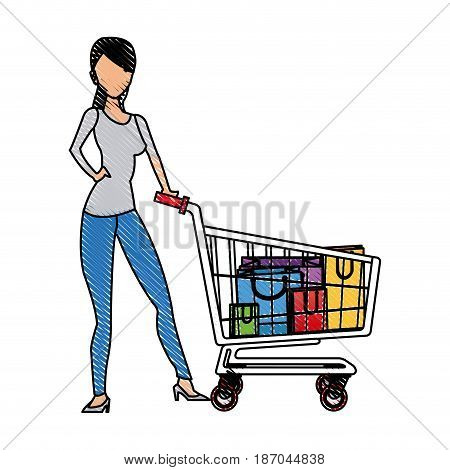 drawing woman standing shooping image vector illustration