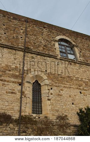 Italy Florence - December 24 2016: the view of the wall of Florence Charterhouse church Carthusian monastery Certosa del Galluzzo di Firenze on December 24 2016 in Florence Tuscany Italy.