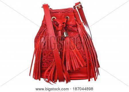 Red leather backpack isolated on white background isolation
