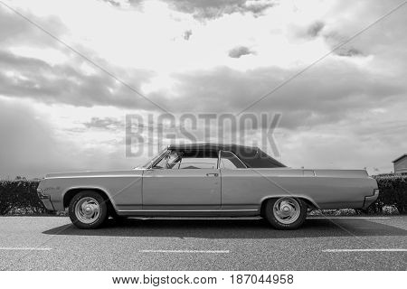Lisse Zuid Holland the Netherlands - April 23 2017: Oldsmobile classic auto black and white