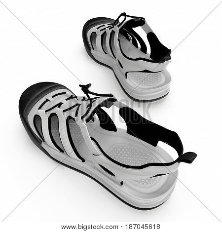 Outdoor summer sandal isolated on white background. 3D illustration