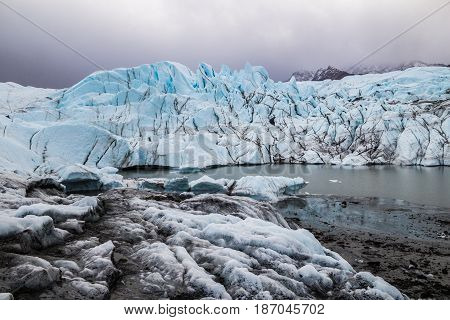 Matanuska Glacier in one of the largest inland glaciers in the World. Between Palmer and Glennallen, Alaska, USA.