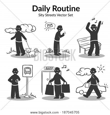Daily routine activities set of man walking with dog sending message dancing near bench waiting transport shopping isolated vector illustration