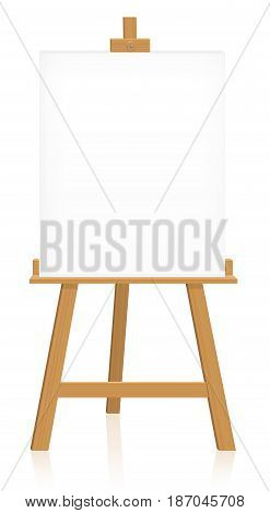 Easel with blank canvas to insert your artwork, picture or text - isolated vector illustration on white background.