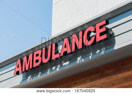Ambulance entrance sign on the emergency room of a hospital