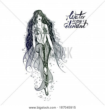 Vector illustration of a swimming sea mermaid with long beautiful hair. The girl water-nymph with the fins and the swimsuit squama enjoying the water element. Freehand drawing and lettering