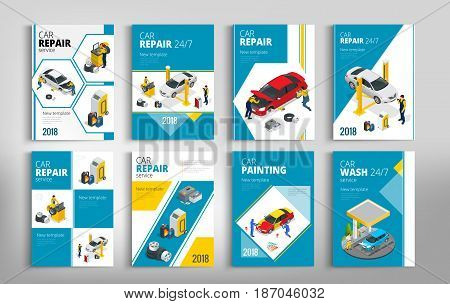 Flyers for Car repair or car service concept. Template of flyear, magazines, posters, book cover, banners. Layout vector illustrations modern pages.