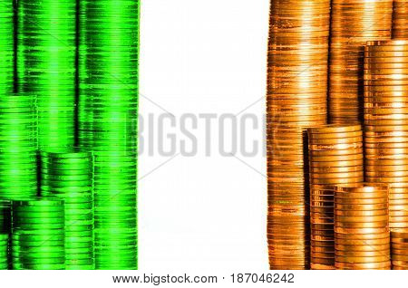 irish money flag constructed from stacks of coins
