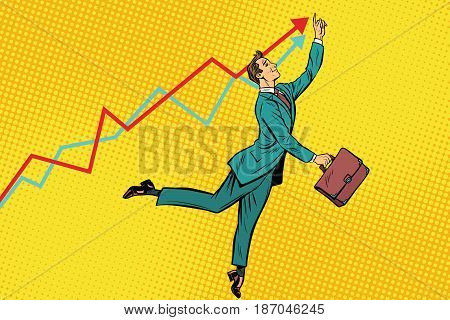 Funny businessman strives for high results. Pop art retro vector illustration drawing