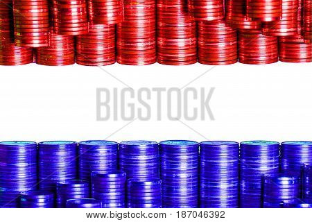 dutch money flag constructed from stacks of coins