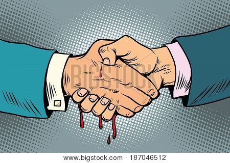 bloody handshake, underhanded business transaction. Pop art retro vector illustration drawing