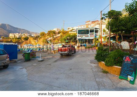 Bali Island Crete Greece - June 24 2016: View on the small empty street of village Bali that is located on the coast of island Crete on early morning.