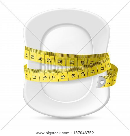 Clean Plate with Measuring Tape as Diet Concept. Illustration on White