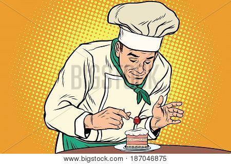 The chef prepares a sweet dessert. Cherry berry on the cake. Pop art retro vector illustration drawing