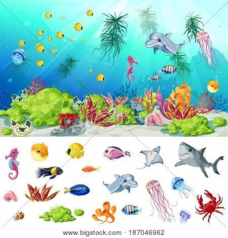 Cartoon sea and ocean life concept with fishes jellyfishes crab shells seahorse shark stingray dolphin corals seaweeds plants vector illustration
