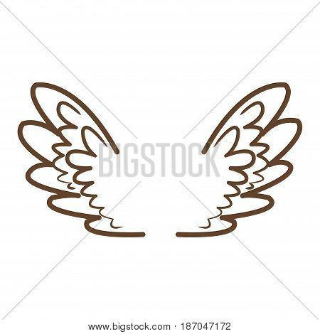 wings feathers angel bird freedom icon vector illustration